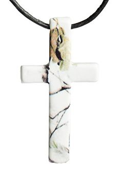 """Realtree Snow Cross Camo Pendant Necklace Jewelry, US Steel & Leather, 31"""" Camo Chique http://www.amazon.com/dp/B00PNK2IUW/ref=cm_sw_r_pi_dp_DsFpvb1KVH49Y"""