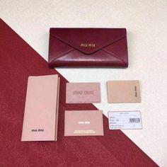2016 New Miu Miu Envelope Wallet 5M1406 in Oxblood Shiny Leather  MiuMiu  Miu Miu Wallet 6d7f33ac7ee73