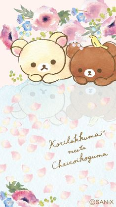 Korilakkuma meets Chairoikoguma Sanrio Wallpaper, Kawaii Wallpaper, Wallpaper Iphone Cute, Iphone Wallpapers, Kawaii Chibi, Kawaii Art, Rilakkuma, Cute Anime Character, Cute Characters
