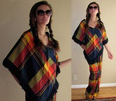 Tartan poncho and trousers set. I would wear the hell out of this - it could be my crazy old bag grocery shopping outfit! From etsy shop #muffnofdoom (of course it is).