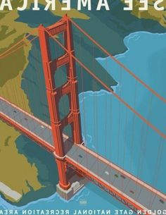 Golden Gate National Recreation Area Budget Travel, Us Travel, Cancun Mexico Resorts, Vintage Travel Posters, Golden Gate Bridge, Travelling, National Parks, State Parks