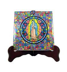 #Virgin of #Guadalupe #religious gift idea handmade icon on ceramic tile #avemaria #virgendeguadalupe http://etsy.me/2u684Hh