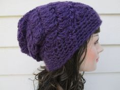 Ready to ship  The color is RICH PURPLE  Gorgeous Slouch beanie with heart button is Great accessory for any time of the year,  Dressy and elegant,