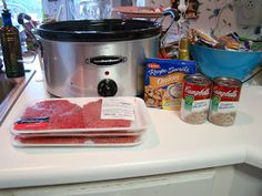 Crock Pot Cubed Steak - A Must Try Ingredients: cube steaks 2 cans cream of mushroom soup 1 packet onion soup mix 3/4 cup water Add all ingredients into crock pot and cook 4-6 hours. Tip: I use crock pot liners for an easy clean up! Hint: It makes a wonderful gravy to add to mashed potatoes.