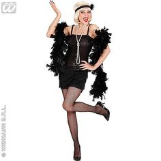 Disfraz de Charleston negro con lentejuelas, plumas y diadema