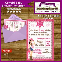 Cowgirl Baby Shower Invitation It's a Girl  by DigiGraphics4u #cowgirl #babyshower #baby #shower #invitation #it's #a #girl #itsagirl @etsy