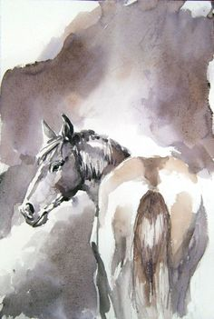 ARTFINDER: Horse steam II by Goran Žigolić - H horse standing , a lot of a preparation in the drawing, but quickly made in watercolor...allmost whole body in halftone, just a little accents in darkness ...
