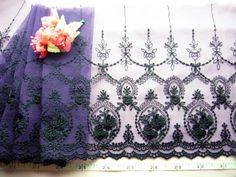 Lace trim, Victorian style, embroidered tulle lace, net fabric trim, violet lace trim,  bridal lace, lingerie lace, 2 yards VT042. $7.99, via Etsy. Victorian Fabric, Tulle Lace, Bridal Lace, Victorian Fashion, Lace Trim, Lace Lingerie, Trending Outfits, Unique Jewelry, Handmade Gifts