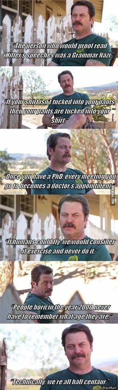 """A few of nick offerman's """"Shower Thought""""."""