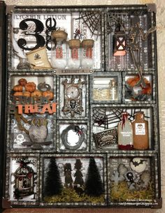 Richele Christensen: Halloween Configuration (inside a configurations box) Halloween Shadow Box, Holidays Halloween, Halloween Crafts, Halloween Decorations, Halloween Ideas, Halloween Designs, Shadow Box Kunst, Shadow Box Art, Autumn Crafts