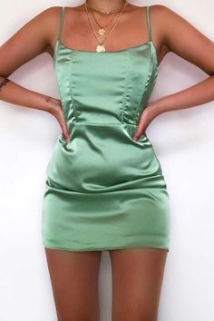 Have Your Attention Satin Mini Dress - Sage – Fashion Nova Casual Homecoming Dresses, Casual Summer Dresses, Tight Hoco Dresses, Summer Mini Dresses, Stylish Dresses, Summer Outfit, Look Fashion, Fashion Clothes, Fashion Outfits