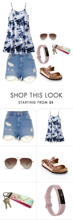 """""""Today was the last day of school, y'all!!"""" by harleygrace20 ❤ liked on Polyvore featuring River Island, TOMS, Birkenstock, Lilly Pulitzer and Fitbit"""