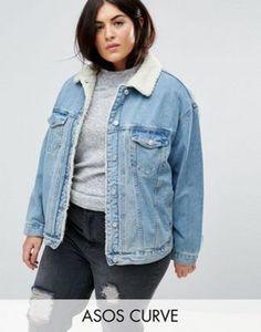 ASOS CURVE Denim Borg Jacket in Midwash Blue