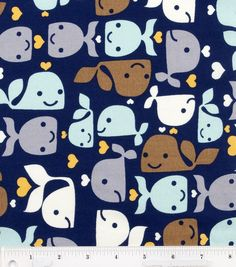 Novelty Cotton Fabric Whales Allover, , hi-res