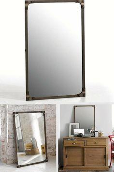Miroir atelier g ant en m tal noir ou gris decoclico for Miroir atelier chehoma
