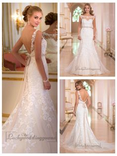 Fit and Flare Illusion Lace Bateau Neckline Wedding Dresses with Open   V-back http://www.ckdress.com/fit-and-flare-illusion-lace-bateau-neckline-  wedding-dresses-with-open-vback-p-2019.html  #wedding #dresses #dress #lightindream #lightindreaming #wed #clothing   #gown #weddingdresses #dressesonline #dressonline #bride