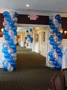 Blue & Silver Balloon Columns