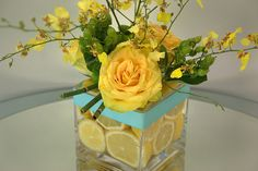 tiffany blue and yellow table piece