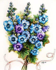 1,159 отметок «Нравится», 40 комментариев — Shirley Yao (@shirley_tutopia) в Instagram: «Blue flower bouquet Fall in love with this coloring book #blomstermandala (US edition:…»