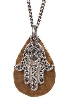 mariechavez | Bronze Teardrop Earrings & Mixed Metal Bronze Hamsa Hand Necklace | HauteLook #streetstyle