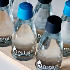 Retap glass bottles are well designed for your daily dose of tapwater. Its organic design looks gorgeous and is easy to clean. In the dishwasher of course.