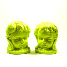 neon green cherub bookends, valentines day, victorian,  head bust, romantic, rustic, lime green, desk, home accents, upcycled, home decor. $28.00, via Etsy.