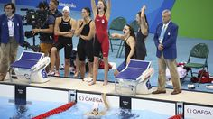 he Rio 2016 4x200m freestyle team wins bronze with Taylor Ruck, Penny Oleksiak, Brittany Maclean and Katerine Savard on August 10 2016. (Steve Boudreau) - The Rio 2016 4x200m freestyle team wins bronze with Taylor Ruck, Penny Oleksiak…