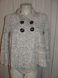 Cache Size S Brown Ivory Cotton Acrylic Knit Double Breasted Cozy Soft Sweater #Cach #Sweatercoat
