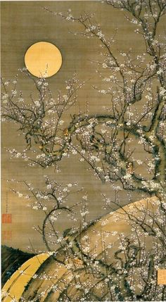 (Japan) Plum blossom and moon light by Ito Jakuchu Japanese Artwork, Japanese Painting, Japanese Prints, Chinese Painting, Chinese Art, Art Chinois, Art Asiatique, Moon Painting, Art Japonais