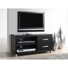 """Techni Mobili Manila Black TV Stand with 2 Drawers, for TVs up to 40"""" - Walmart.com"""