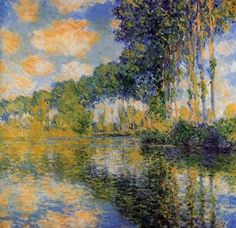 Claude Monet Poplars on the Epte, 1891 . I will forever lovethe work of Monet. I look at a Monet and I cry (in a good way) his work is obviously heaven sent Claude Monet, Renoir, Monet Paintings, Landscape Paintings, Landscapes, Artist Monet, Impressionist Paintings, Oil Painting Reproductions, Oeuvre D'art