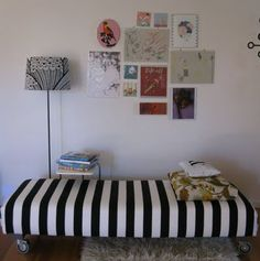 Stripe upholstered bench - fabric to use: Canopy in Black & White https://www.tonicliving.com/productsDetails.asp?categoryid=98=561=1=0