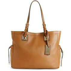 Calvin Klein Handbag, Exclusive Leather Tote (165 CAD) ❤ liked on Polyvore featuring bags, handbags, tote bags, brown tote bag, calvin klein tote bag, leather handbags, brown leather handbags and brown purse