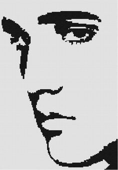 For my friend Willie K. Elvis Counted Cross Stitch Black and White Pattern. $9.00, via Etsy.