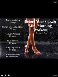 Before your shower Mini Morning Workout (I do mine naked! No fancy workout clothes, equipment, or excuses! Finally a workout plan that fits my life. Fitness Motivation, Fitness Diet, Health Fitness, Fitness Workouts, Health And Beauty, Health And Wellness, Plie Squats, Fit Life, Butt Workout