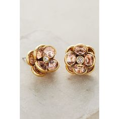 Impatiens Posts ($38) via Polyvore featuring jewelry, earrings, rose, rose earrings and rose jewelry