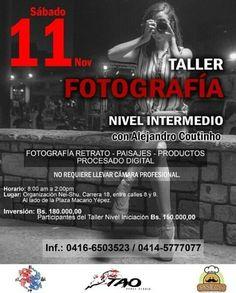 @nei.shu  @taodancestudio  @pastechigourmet  TE INVITAN a participar este Sábado 11 de noviembre en el TALLER DE FOTOGRAFÍA  Nivel Intermedio. Contenido: -Fotografía de Retrato -Fotografía de Paisaje -Fotografía de Productos -Nociones básicas de procesado digital.  No requiere tener cámara de uso profesional. Información: 0416-6503523 / 0414-5777077 #Repost via  @alejandrocoutinho