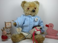 Baby Barnaby Bear C1950 playing with his toys  (Antique teddy bears Vintage bears old bears)