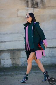 Eva Chen wearing Mother of Pearl parka, Topshop top and Valentino boots before Valentino fashion show. STYLE DU MONDE on Instagram @styledumonde, Pinterest, Twitter, Tumblr and Facebook