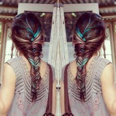 Fishtail braid with some color. Idk if I could actually bleach and dye my hair... but I like the look!!
