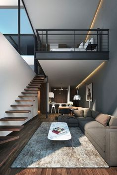 Small Homes That Use Lofts To Gain More Floor Space Living Room - Modern-apartment-design-ideas