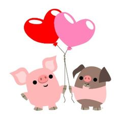 pigs with babies | Tangled Heart: cute cartoon pigs on Valentine's Day merchandise ...