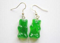Lime Gummy Bear Earrings. £5.00, via Etsy.