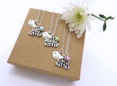 Set of 3 SISTER Necklace, Set of 2 Sister Necklaces, Big Sister, Little Sister, Middle Sister, Gifts for Sisters, Sister Jewellery