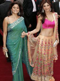 Shilpa Shetty and Shamita Shetty in Saree outfit