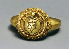 Ring with Tortoise Motif on Circular Bezel Period: late Central Javanese period Date: 8th–early 10th century Culture: Indonesia (Java) Medium: Gold