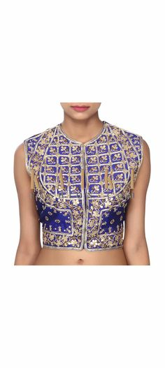 Buy this  Royal blue jacket blouse in gotta work only on Kalki