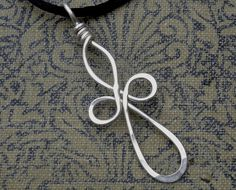 Long Loopy Celtic Cross Silver Wire Pendant- Celtic Cross Necklace - Wire Cross, First Communion, Confirmation Gift Jewelry