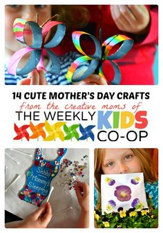 14 CUTE MOTHER'S DAY CRAFTS for KIDS + The Weekly Kids Co-Op Link Party #kids #mothersday #kbn #binspiredmama