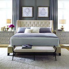 Bernhardt Interiors | Maxime Platform Wing Bed, hair-on-hide Mansfield Bench, bone inlay Herringbone Drawer Cabinet